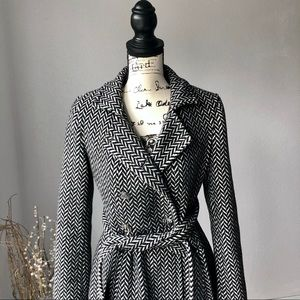 Express Jackets & Coats - Express Wool Belted Peacoat Black Houndstooth S